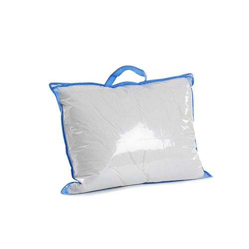 Blue Non Woven Binding Clear PE Pillow Bag