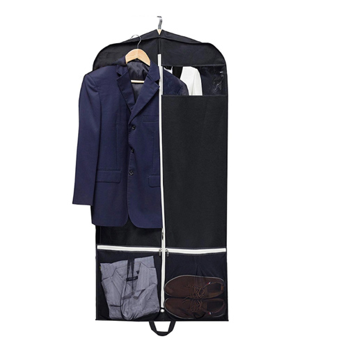 Black Polyester Business Suit Bag with White Nylon Zipper